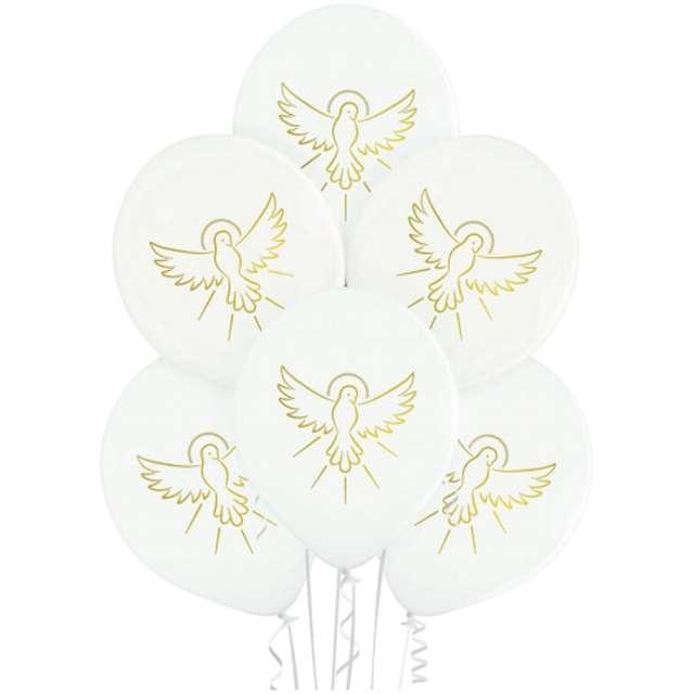 Balony Pierwsza Komunia - Złoty Gołąb białe Belbal 12 6szt.