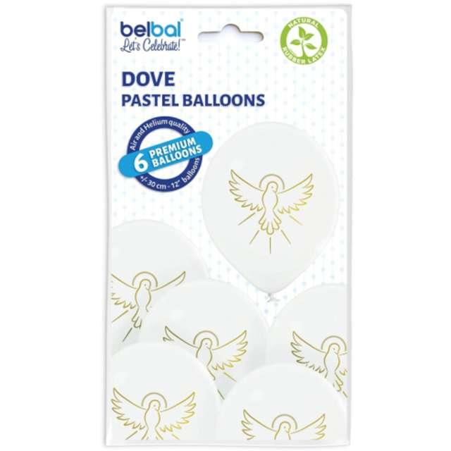 Balony Pierwsza Komunia - Złoty Gołąb białe Belbal 12 6 szt.