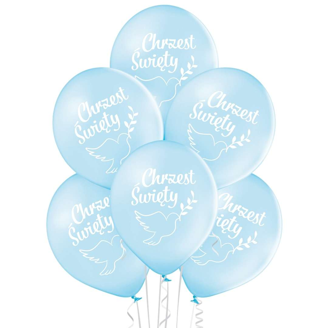 Balony Chrzest Chłopca niebiesko-białe BELBAL12 6 szt