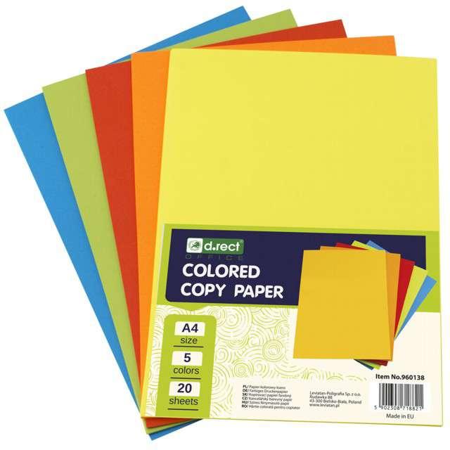 Arkusze papierowe Mix 5 kolorów A4 Leviatan 20 szt