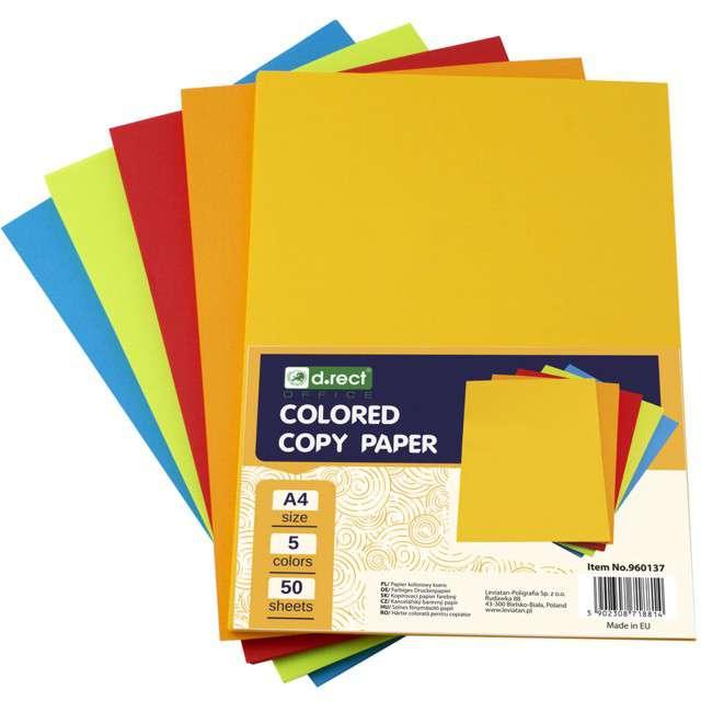 Arkusze papierowe Mix 5 kolorów A4 Leviatan 50 szt