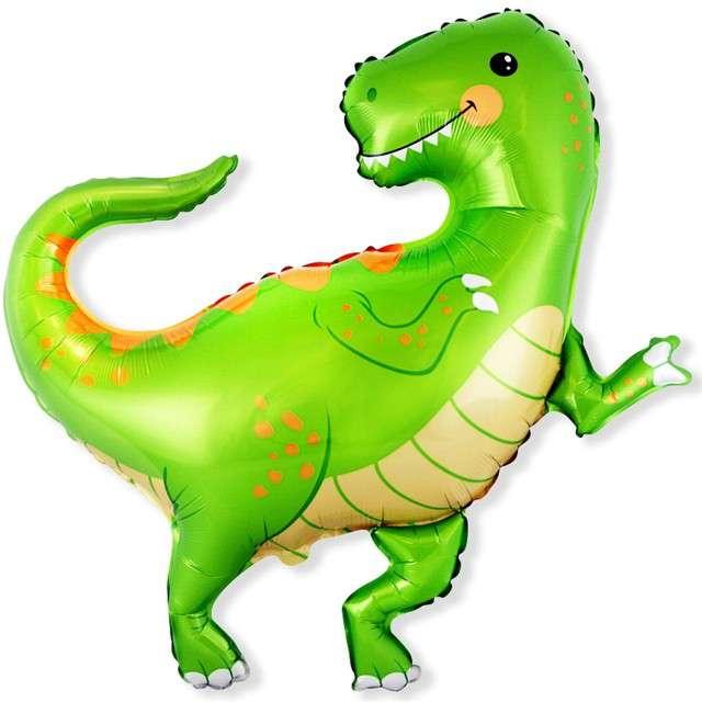 """Balon foliowy """"Dinozaur Dino"""", zielony, Flexmetal, 24"""", SHP"""