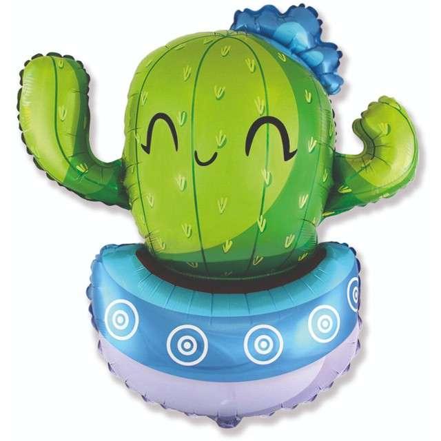 """Balon foliowy """"Wesoły kaktus"""", niebieski, Flexmetal, 24"""", SHP"""