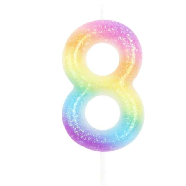 """Świeczka """"Cyfra 8 z brokatem"""", tęczowa, PartyPal, 6 cm"""