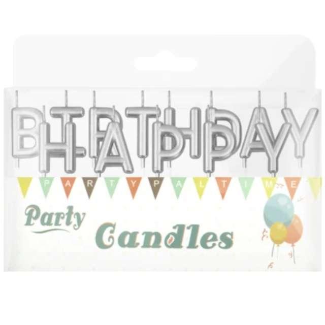 Świeczki na tort Happy Birthday srebrne Partypal 7 cm