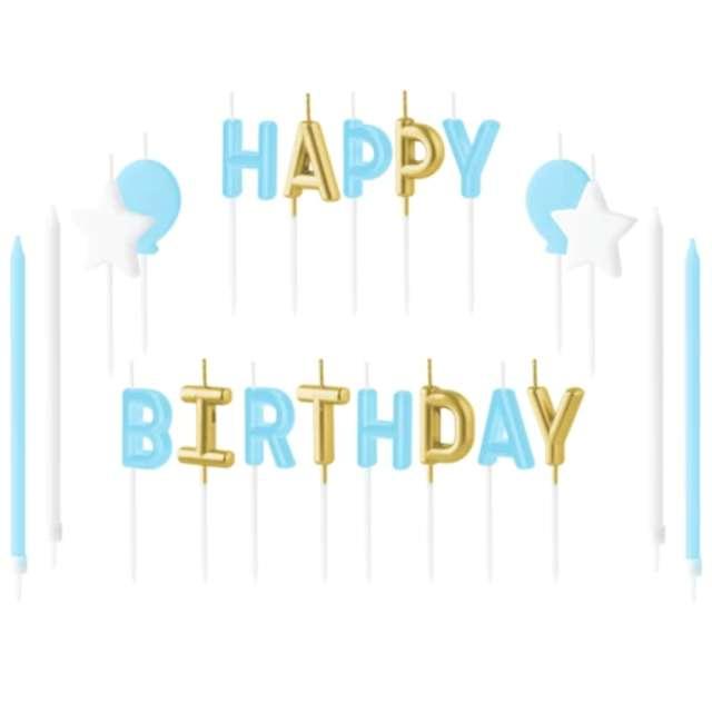 """Świeczki na tort """"Happy Birthday - zestaw niebieski"""", Partypal"""