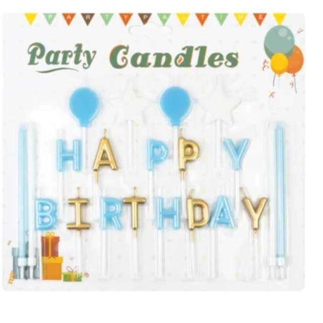 Świeczki na tort Happy Birthday - zestaw niebieski Partypal