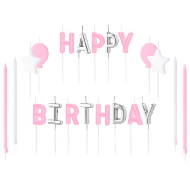 """Świeczki na tort """"Happy Birthday - zestaw różowy"""", Partypal"""