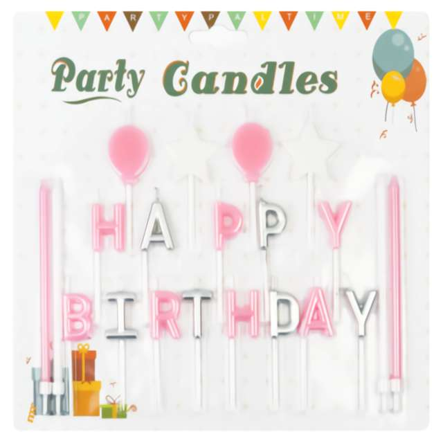 Świeczki na tort Happy Birthday - zestaw różowy Partypal