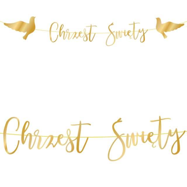 Baner Chrzest Święty - gołębie złoty PartyPal 150 cm