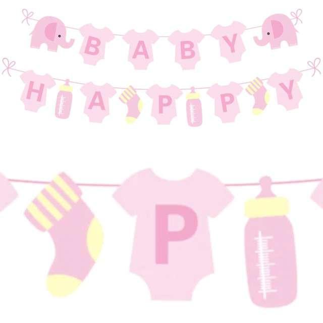 """Baner """"Baby Shower dziewczynka"""", różowy, PartyPal, 300 cm"""