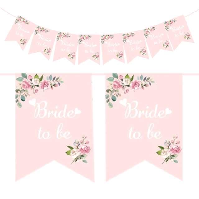 """Baner """"Wieczór panieński - kwiaty"""", różowy, PartyPal, 250 cm"""