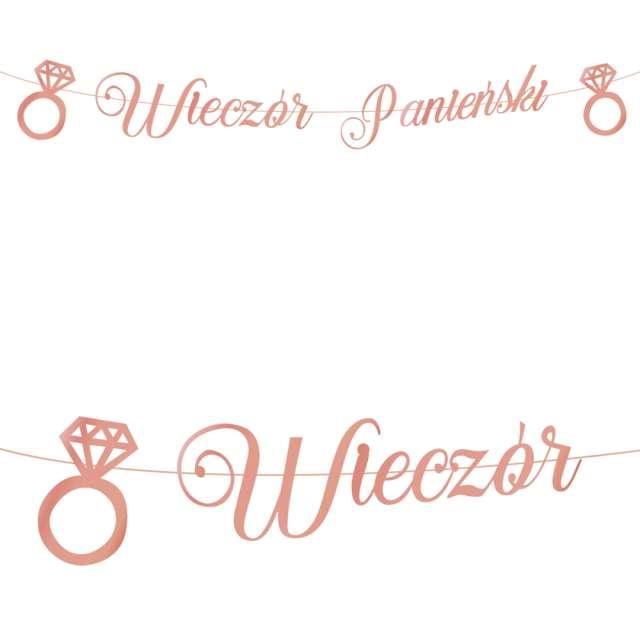 """Baner """"Wieczór panieński - pierścionki"""", różowo-złoty, PartyPal, 150 cm"""