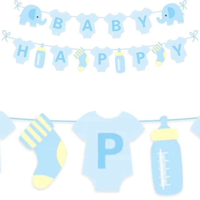 """Baner """"Baby Shower chłopiec"""", niebieski, PartyPal, 300 cm"""