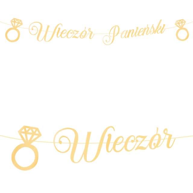 """Baner """"Wieczór panieński - pierścionki"""", złoty, PartyPal, 150 cm"""