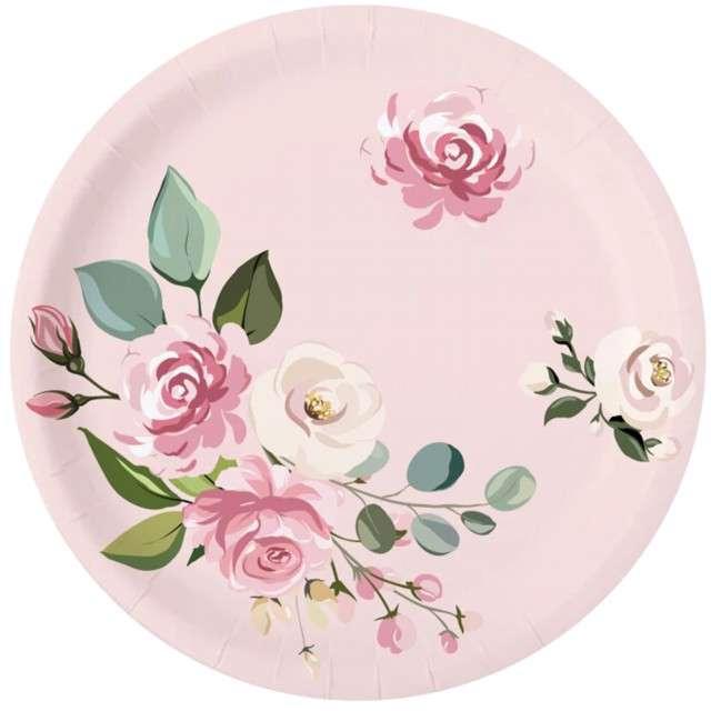 """Talerzyki papierowe """"Zestaw w kwiaty"""", różowe, PartyPal, 6 szt"""