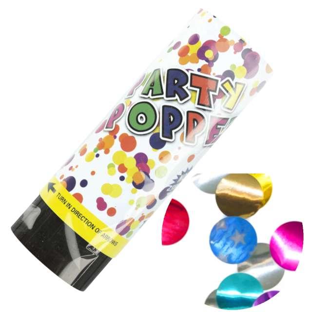 "Tuba strzelająca konfetti ""Barwne kółka"", mix, PartyPal, 11 cm"