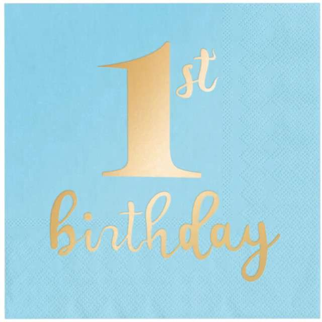 """Serwetki """"1st Birthday - Urodziny"""", niebieskie, PartyPal, 33 cm, 10 szt"""