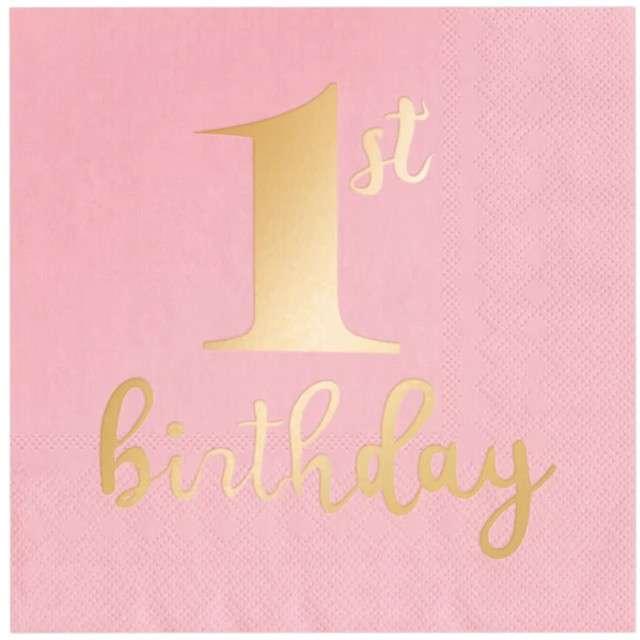 """Serwetki """"1st Birthday - Urodziny"""", różowe, PartyPal, 33 cm, 10 szt"""