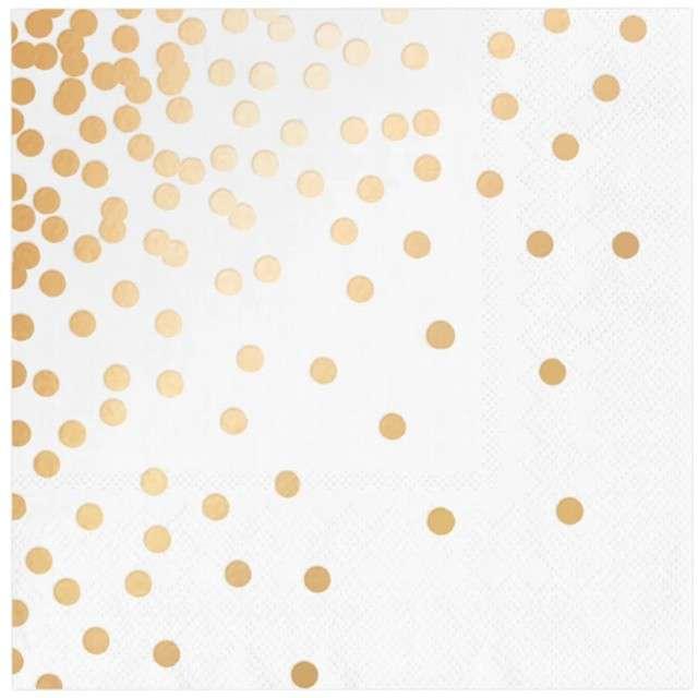 Serwetki Kropki złote białe PartyPal 33 cm 10 szt