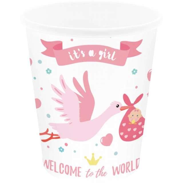 _xx_Kubek Baby Shower Bocian różowy 6szt