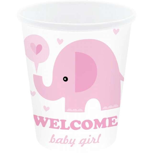 """Kubeczki papierowe """"Shower Baby - słonik"""", biało-różowe, PartyPal, 6 szt"""