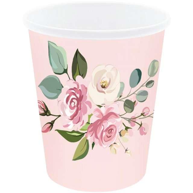 """Kubeczki papierowe """"Kwiaty"""", różowe, PartyPal, 6 szt"""