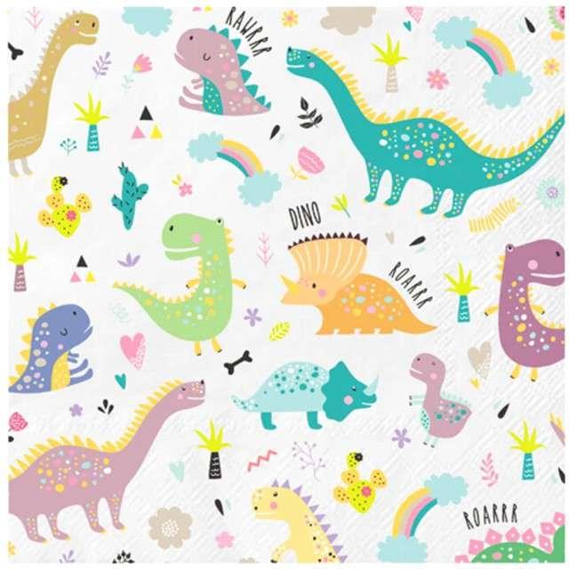 """Serwetki """"Dinozaury Kolorowe"""", PartyPal, 33 cm, 10 szt"""