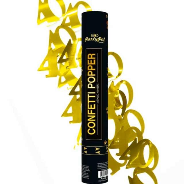 """Tuba strzelająca konfetti """"Urodziny cyfra 40"""", złote, PartyPal, 40 cm"""