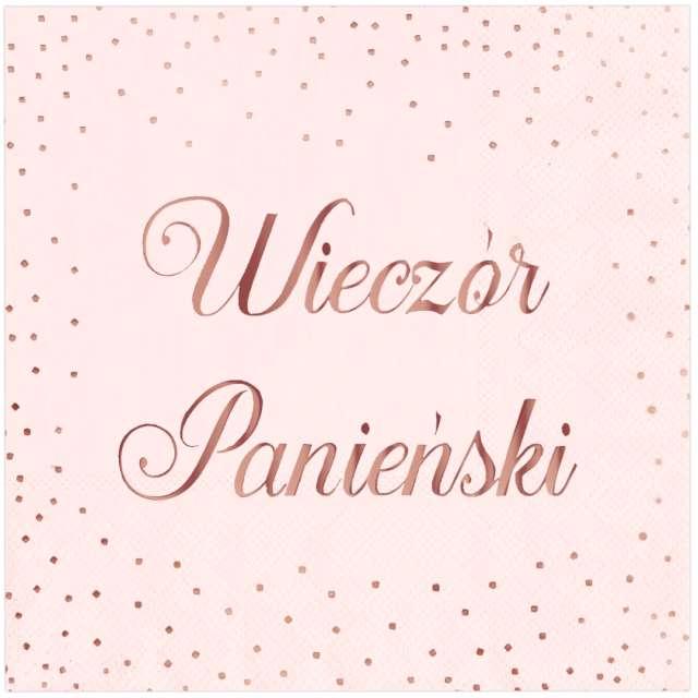 """Serwetki """"Wieczór Panieński"""", różowe złoto, PartyPal, 33 cm, 10 szt"""