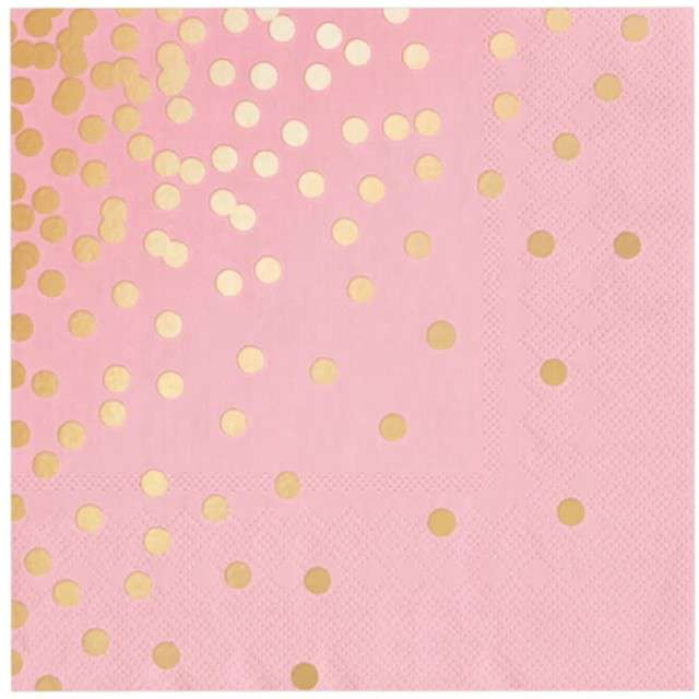 """Serwetki """"Kropki złote"""", różowe, PartyPal, 33 cm, 10 szt"""