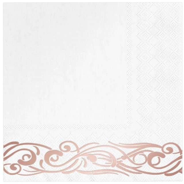 """Serwetki """"Ornament Ślubny"""", różowe złoto, PartyPal, 33 cm, 10 szt"""