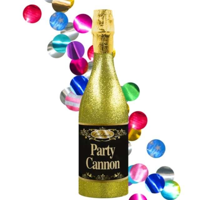 """Strzelające konfetti """"Butelka Szampana - złota"""", mix, PartyPal, 32 cm"""