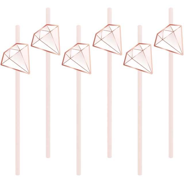 """Słomki papierowe """"Diamenty"""", pastelowe, PartyPal, 6 szt"""