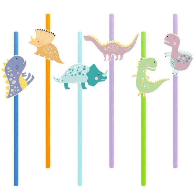 Słomki papierowe Dinozaury kolorowe PartyPal 6 szt