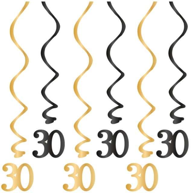 """Świderki wiszące """"Urodziny 30"""", czarno-złote, PartyPal, 6 szt"""