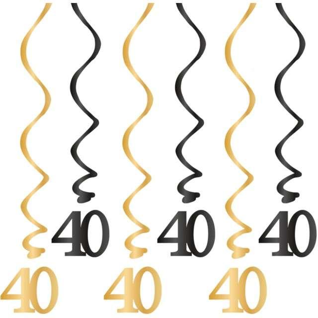 """Świderki wiszące """"Urodziny 40"""", czarno-złote, PartyPal, 6 szt"""