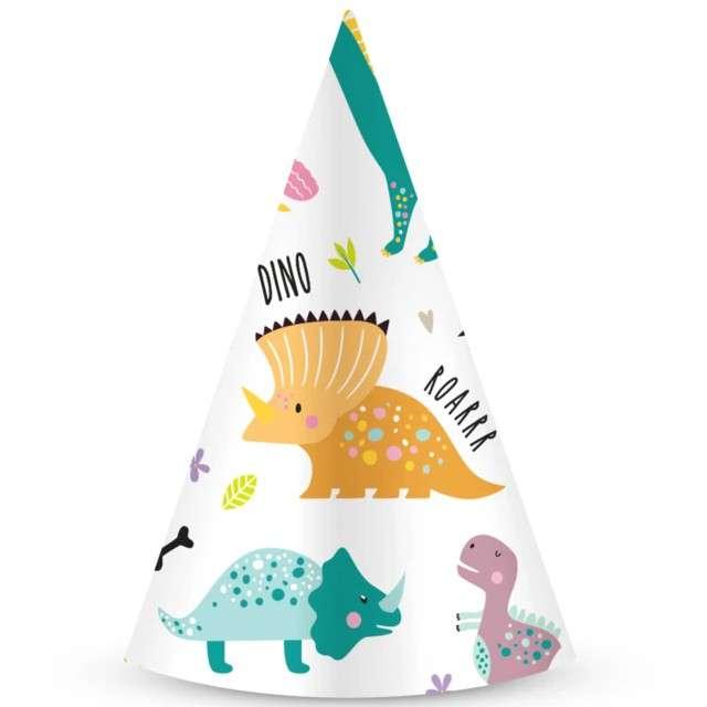 """Czapeczki papierowe """"Dinozaury"""", kolorowe, PartyPal, 6 szt"""