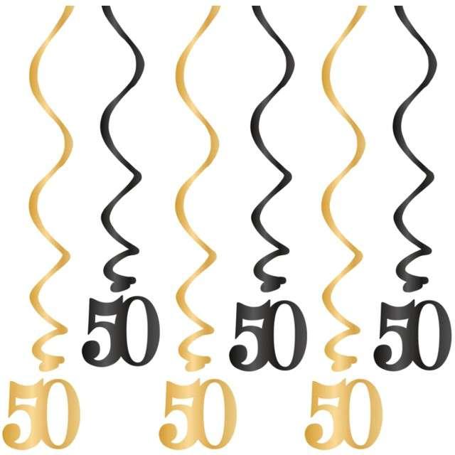 """Świderki wiszące """"Urodziny 50"""", czarno-złote, PartyPal, 6 szt"""