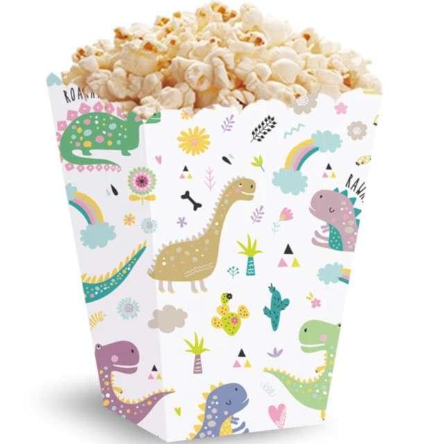 Pudełka na popcorn Dinozaury kolorowe PartyPal 5 szt