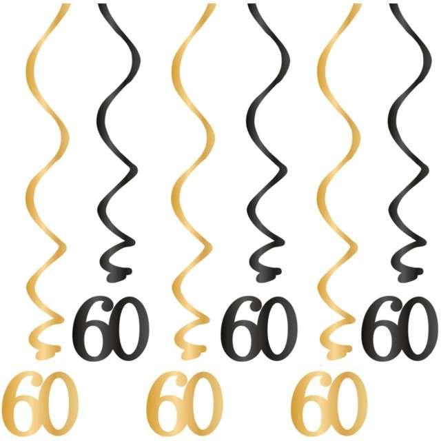 """Świderki wiszące """"Urodziny 60"""", czarno-złote, PartyPal, 6 szt"""