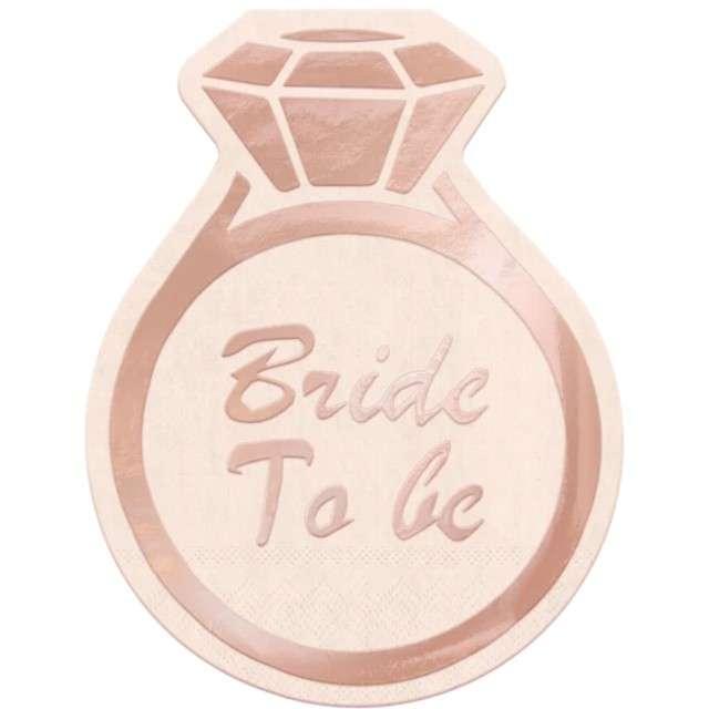 """Serwetki """"Pierścionek - Bride to Be"""", różowe złoto, PartyPal, 15 cm, 10 szt"""