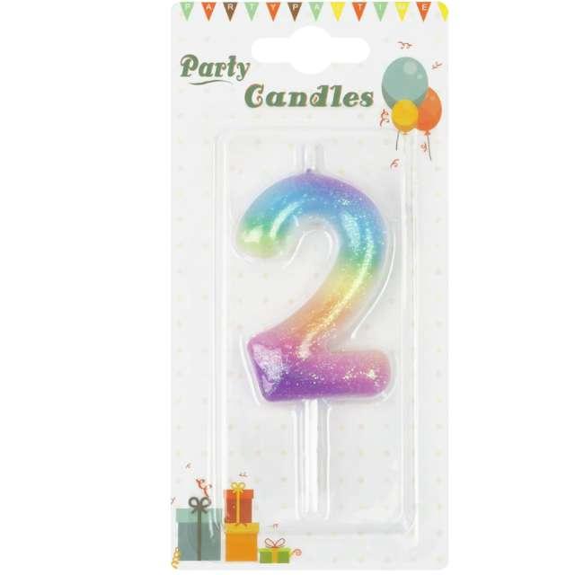 Świeczka Cyfra 2 z brokatem tęczowa PartyPal 6 cm