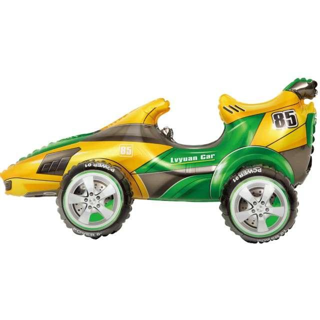 """Balon foliowy """"Wyścigówka"""", żółto-zielony, PartyPal, 28"""" SHP"""