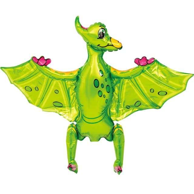 """Balon foliowy 3D """"Pterodaktyl zielony"""", PartyPal, 31"""" SHP"""