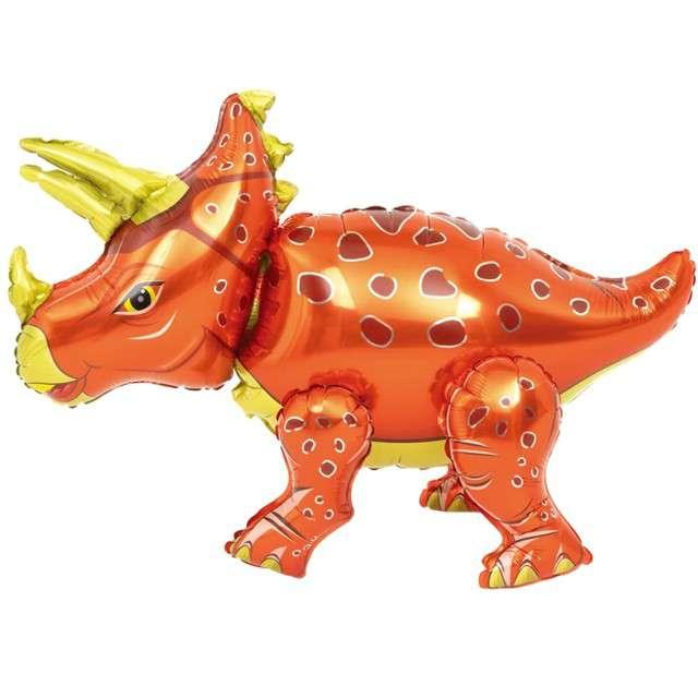 """Balon foliowy 3D """"Triceratops czerwony"""", PartyPal, 35"""" SHP"""