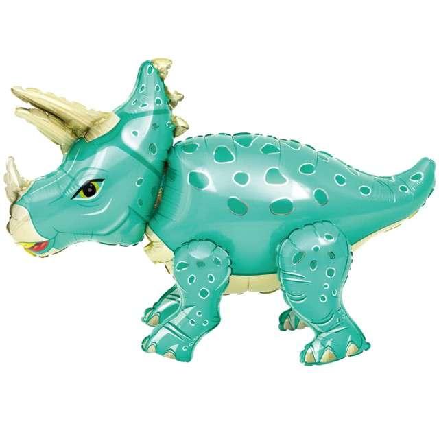 Balon foliowy 3D Triceratops turkusowy PartyPal 35 SHP