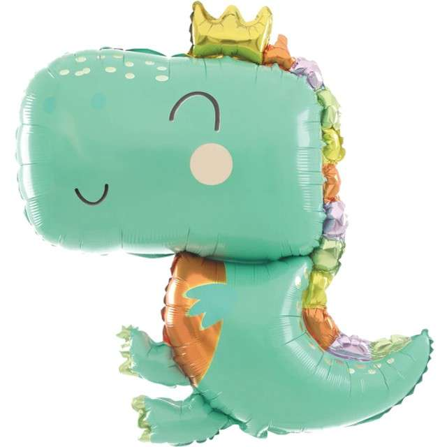 "Balon foliowy ""Dinozaur - smok z koroną"", PartyPal, 35"" SHP"