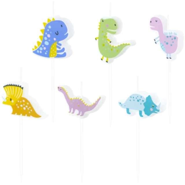 Świeczki na tort Bajkowe Dinozaury mix Partypal 6 szt