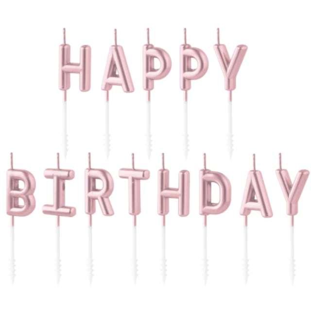 """Świeczki na tort """"Happy Birthday"""", różowe złoto, Partypal, 7 cm"""